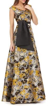 Kay Unger Portrait Floral Jacquard Gown