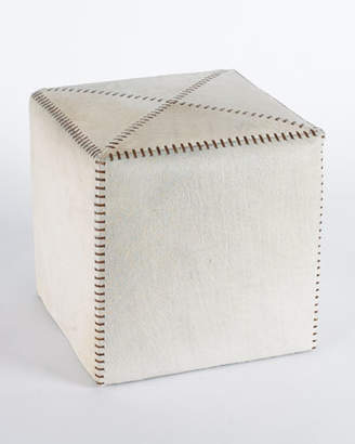 Jamie Young Small White Hairhide Ottoman