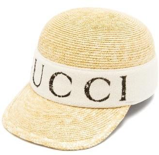 Gucci Logo Print Raffia Baseball Cap - Mens - Beige Multi