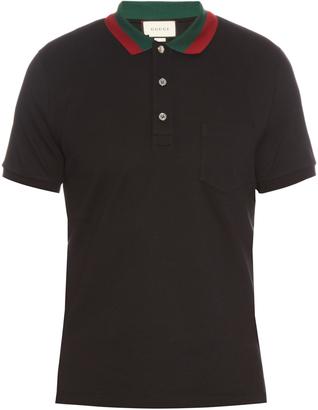 GUCCI Contrast-collar cotton-blend piqué polo shirt $495 thestylecure.com