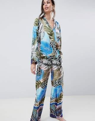 e010e3e4f8 Asos Design DESIGN Tropical Border Print Satin Pajama Set