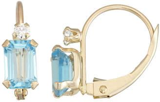 FINE JEWELRY Blue Topaz 10K Gold Rectangular Drop Earrings