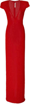 Naeem Khan Cap-Sleeve Crepe Gown