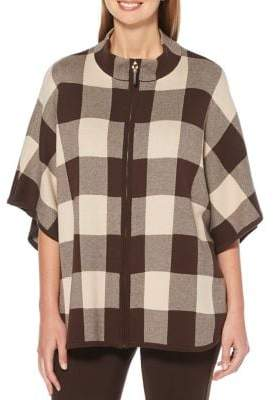 Rafaella Checkered Cotton-Blend Sweater