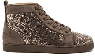 Christian Louboutin Louis Strass embellished high-top leather trainers