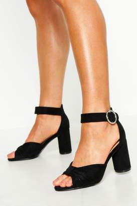 boohoo Extra Wide Fit Knot Block Heels