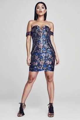 boohoo Premium Oriental Lace Up Dress