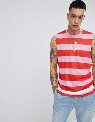 Asos DESIGN sleeveless t-shirt with dropped armhole with stripe and french text print