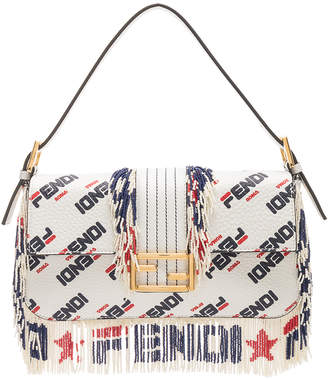 Fendi x FILA Logo Beaded Trim Baguette in White | FWRD