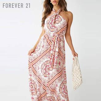 Forever 21 (フォーエバー 21) - Forever 21 スカーフプリントロングワンピース
