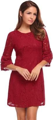 FineFolk Women's Scoop-Neck Solid Three-Quarter-Sleeve Short Straight Dress