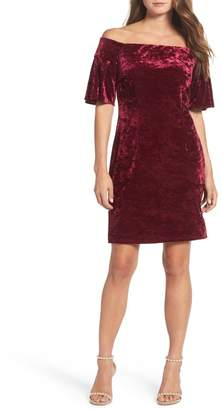 Eliza J Off the Shoulder Velvet Cocktail Dress