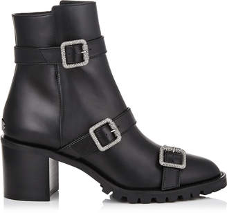 Jimmy Choo HANK 65 Black Smooth Leather Boots with Jewel Buckles