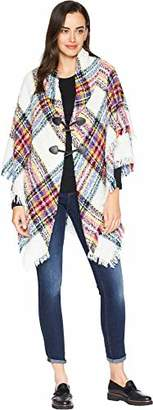 Collection XIIX Women's London Boucle Plaid Toggle Shawl