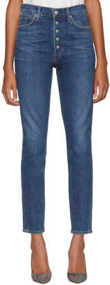Citizens of Humanity Blue Olivia High-Rise Exposed Fly Jeans