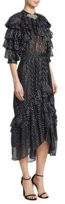 Dodo Bar Or Doris Metallic Polka Dot Chiffon Midi Dress