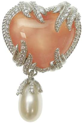Judith Ripka Sterling Pink Opal and DiamoniqueHeart Pin
