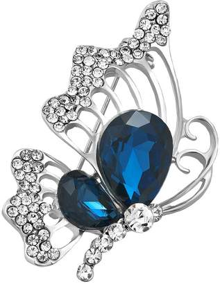 Swarovski Charmed Craft Vintage Butterfly Brooch Pins Elements Blue Crystal Brooches Jewelry For Women Girls