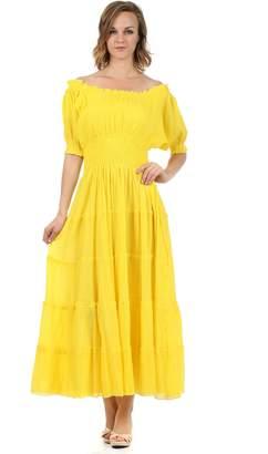 Sakkas 3702 Cotton Crepe Peasant Boho Renaissance Dress - /