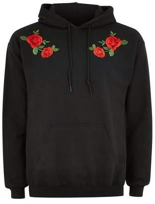 Topman Mens Black Rose Hoodie