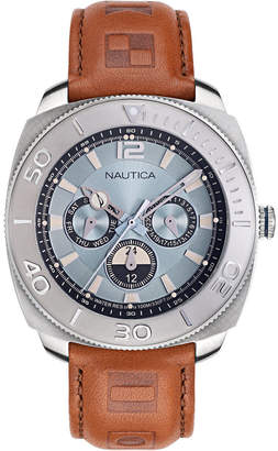 Nautica Men NAPBHS902 Bal Harbour Brown/Silver Leather Strap Watch