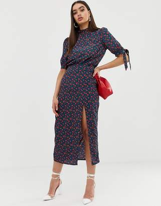 Fashion Union midi skirt with front split in floral