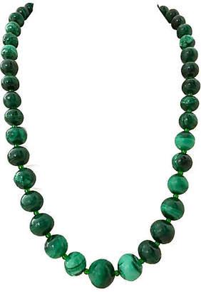 One Kings Lane Vintage 1970s Malachite Graduated Bead Necklace - Jacki Mallick Designs
