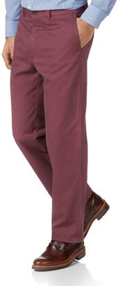 Charles Tyrwhitt Dark Pink Classic Fit Flat Front Washed Cotton Chino Pants Size W34 L34