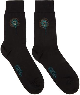 Alexander McQueen Black Short Peacock Feather Socks $80 thestylecure.com