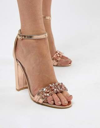 True Decadence Rose Gold Embellished Block Heeled Sandals