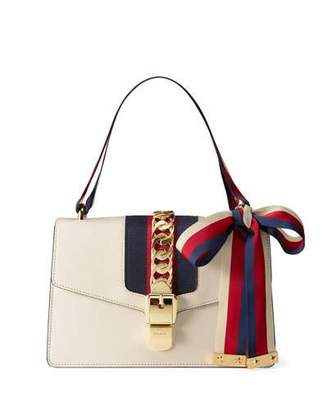 Gucci Sylvie Small Leather Shoulder Bag, White/Red/Blue $2,490 thestylecure.com