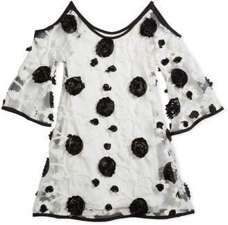 Zoe Cold-Shoulder Embroidered Flower Mesh Dress, Size 7-16
