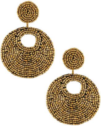 Kenneth Jay Lane Topaz Seed Bead Drop Earrings
