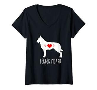Picard Womens Berger Breed Dog Lover Top Mom Shows V-Neck T-Shirt