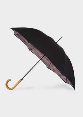 Black Signature Stripe Canopy Walker Umbrella With Wooden Handle