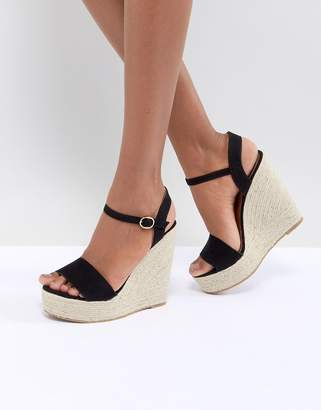 Glamorous Black Espadrille Wedge Sandals