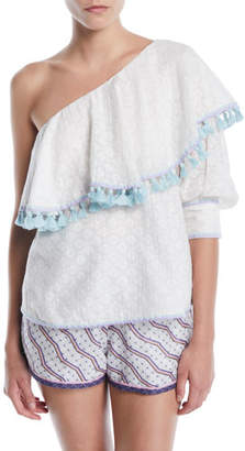 Talitha Collection One-Shoulder Cutwork Silk-Cotton Blouse w/ Tassel Trim