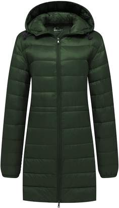Wantdo Women's Windproof Puffer Jacket Hooded Packable Ultra Soft Light Weight Down Coat