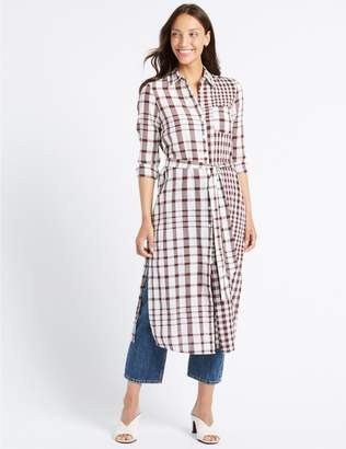 Marks and Spencer Pure Cotton Checked Shift Maxi Dress