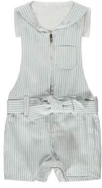 Chloé Sale - Cross Back Sailor Collar Striped Playsuit