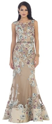 May Queen Sleeveless with Floral Applique Embellished Sheath Dress $333 thestylecure.com