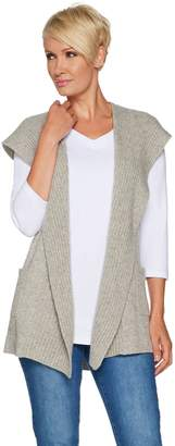 Isaac Mizrahi Live! 2-Ply Cashmere Open Front Hooded Vest