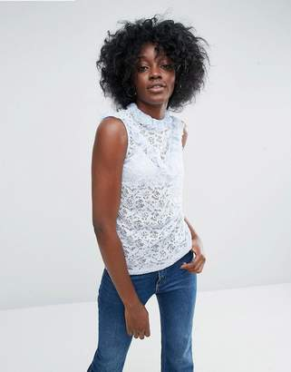 Asos Design Top In Lace With Ruffle Neck In Sleeveless