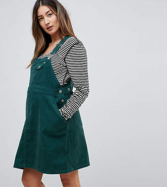 Asos DESIGN Maternity cord overall dress in emerald green