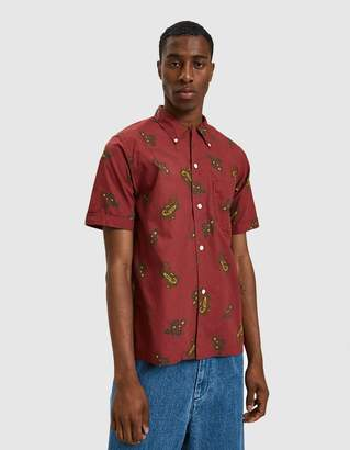 Beams S/S Open Collar B.D. Dobby Print Paisley in Wine