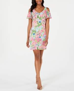 MSK Petite Cold-Shoulder Printed A-line Dress