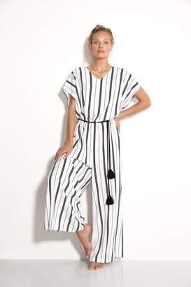Watercult Womens Seaside Stripe Jumpsuit - White