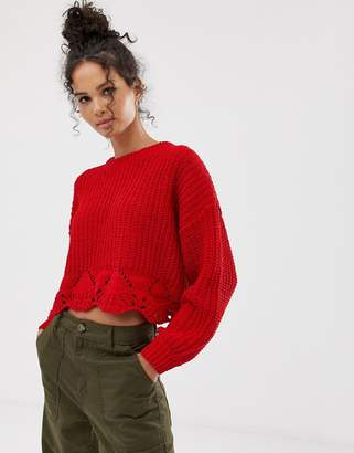 New Look cropped jumper with pointelle hem
