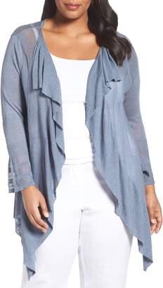 Nic+Zoe Ruffle Wave Linen Blend Cardigan