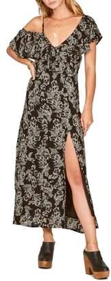 Amuse Society Midnight Flower Asymmetrical Maxi Dress